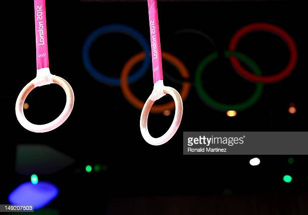 The rings are seen during men's artistic gymnastics training sessions ahead of the 2012 London Olympic Games at North Greenwich Arena on July 25 2012...