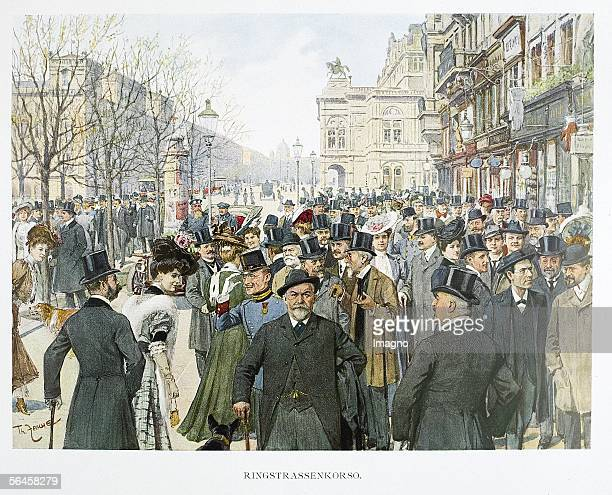 The ''Ringstrassenkorso' in Vienna with Gustav Mahler Karl Spitzer Arnold Rose Hansi Niese Ludwig Boesendorfer Egon Fuerstenberg Erzherzog Eugen...