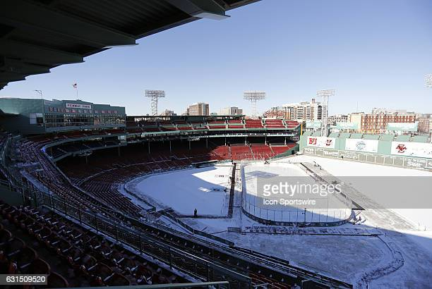 The rink and main grandstand of Fenway Park before a Frozen Fenway NCAA Men's Division 1 hockey game between the Boston University Terriers and the...
