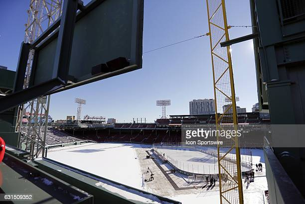 The rink at Fenway Park from atop the Green Monster before a Frozen Fenway NCAA Men's Division 1 hockey game between the Boston University Terriers...