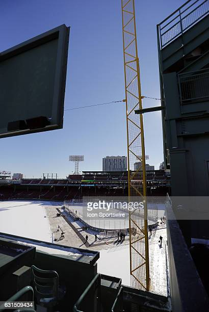 The rink at Fenway Park from atop the Green Monster during a Frozen Fenway NCAA Men's Division 1 hockey game between the Boston University Terriers...