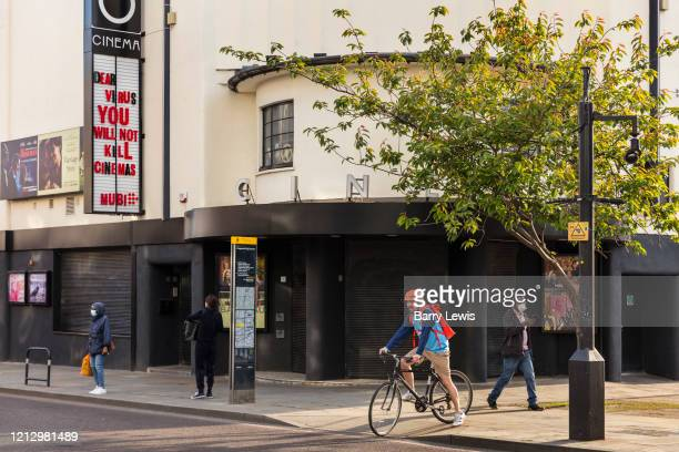 The Rio Cinema on Kingsland Road Hackney with anti virus message during the coronavirus pandemic on the 7th May 2020 in London United Kingdom The...