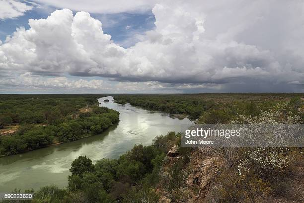 The Rio Grande flows along the USMexico border on August 16 2016 near Roma Texas Border security has become a main issue in the US Presidential...
