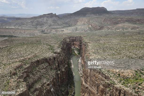 The Rio Grande forms the USMexico border while winding through the Santa Elena Canyon in the Big Bend region on August 1 2017 as seen from a US...