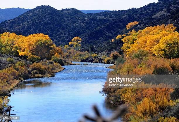 The Rio Grande River flows past cottonwood trees near Taos New Mexico The stretch of river and the gorge it carved into the desert landscape were...