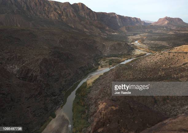 The Rio Grande river that marks the boundary between the United States and Mexico is seen on January 17 2019 in Big Bend Ranch State Park Texas The...