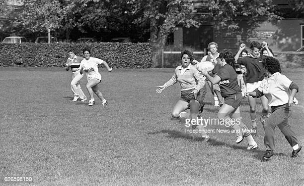 The Rio Grande Surfers Women's Rugby team training in College Park, Dublin, circa October 1983 .