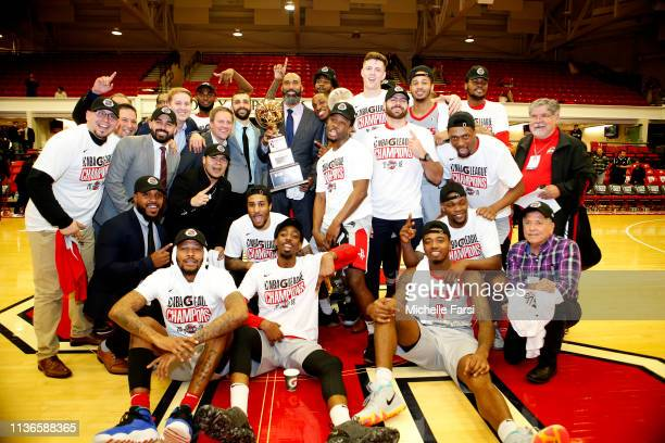 The Rio Grande Valley Vipers holds the Championship trophy after defeating the # of Long Island Nets in Game 3 of the NBA G-League Finals at Island...
