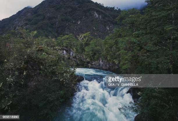 The Rio Petrohue Falls at the foot of the Osorno Volcano Los Lagos Region Chile