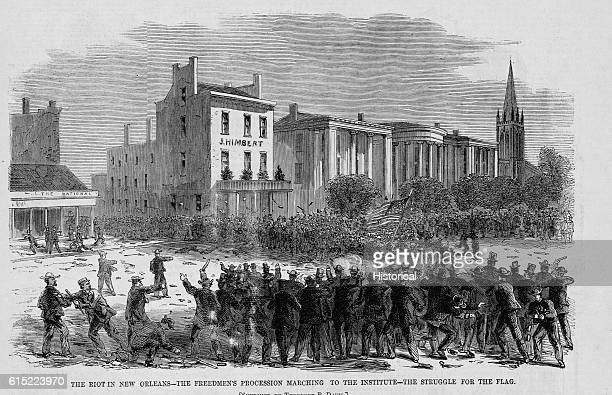 The Riot in New Orleans--The Freedmen's Procession Marching to the Institute--The Struggle for the F