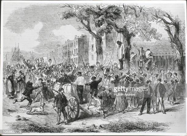 the mob lynching a black man in Clarkson St New York From the Illustrated London News 8th August 1863