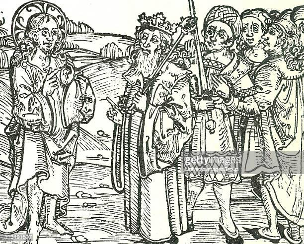 The Risen Christ appearing to the king of Spain . Woodcut from 1497 pamphlet containing a German translation of Columbus's letter to Luis de...