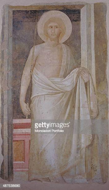 The Risen Christ by Pietro Lorenzetti c 13361337 14th Century ripped fresco Italy Tuscany Siena Museo dell'Opera del Duomo Whole artwork view Fresco...
