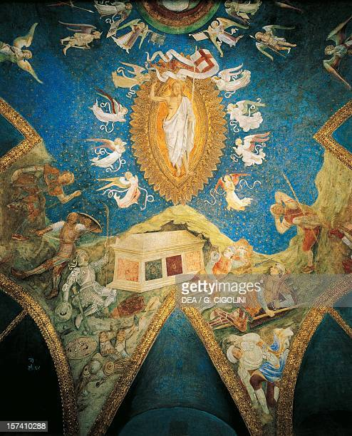 The Risen Christ detail from the vault frescos in the Ducal Chapel Sforza Castle Milan Italy 15th century