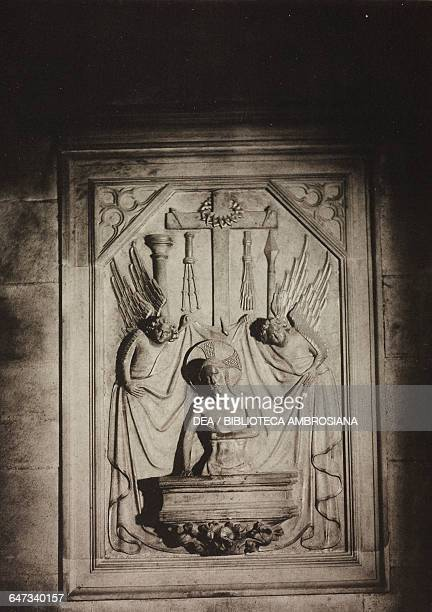 The risen Christ surrounded by angels basrelief at the back of the choir illustration from Milan Cathedral and designs for its facade by Camillo...