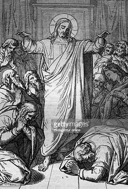 The risen jesus appearing to his disciples in the hall of jerusalem, historic bible steel engraving from 1860