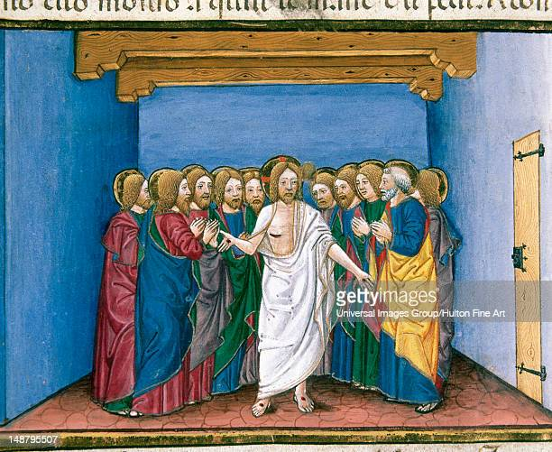 The risen Jesus appears to his disciples gathered in a house for fear of the Jews Codex of Predis Royal Library Turin Italy