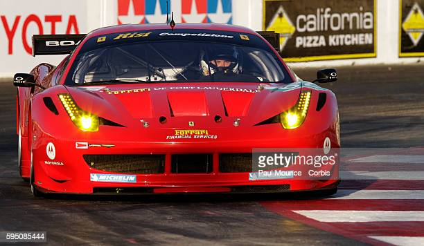 The Risi Competizione car of Jaime Melo and Toni Vilander during practice for the Tequila Patron American Le Mans Series race at the 37th Toyota...