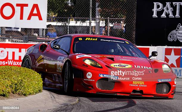 The Risi Competizione entry during practice for the American Le Mans Series Sponsored by Tequila Patron event at the Long Beach Grand Prix