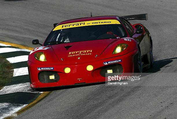 The Risi Competizione Ferrari 430 GT Berlinetta driven by Marino Franchitti during practice for the American Le Mans Series Petit Le Mans at Road...