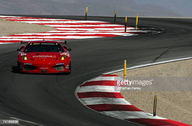The Risi Competizione Ferrari 430 GT driven by Mika Salo and Jaime Melo during practice for the American Le Mans Series Utah Grand Prix at Miller...
