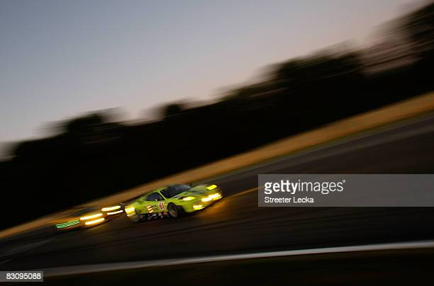 The Risi Competizione Ferrari 430 GT driven by Tracy Krohn, Nic Jonsson and Eric vande Poele during practice for the American Le Mans Series Petit Le...
