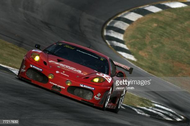The Risi Competizione Ferrari 430 GT of Mika Salo Jaime Melo and Johnny Mowfem drives during the 10th Anniversary Petit Le Mans at Road Atlanta...