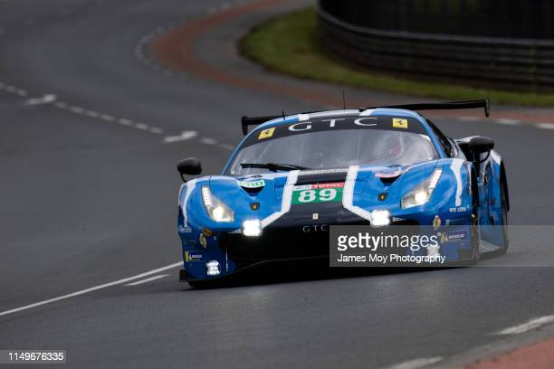 The Risi Competizione Ferrari 488 GTE Evo of Pipo Derani Jules Gounon and Oliver Jarvis in action ahead of the 24 Hours of Le Mans on June 12 2019 in...