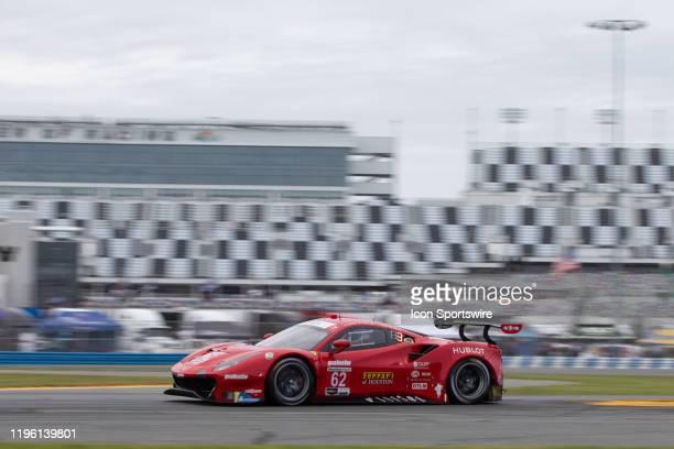 The Risi Competizione Ferrari 488 GTE of James Calado, Alessandro Pier Guidi, Daniel Serra, and Davide Rigon during qualifying for the Rolex 24 at...