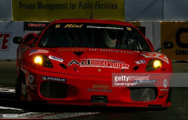 The Risi Competizione GT2 Ferrari 430 GT driven by Jaime Melo and Pierre Kaffer during practice for the Tequila Patron American Le Mans Series at...