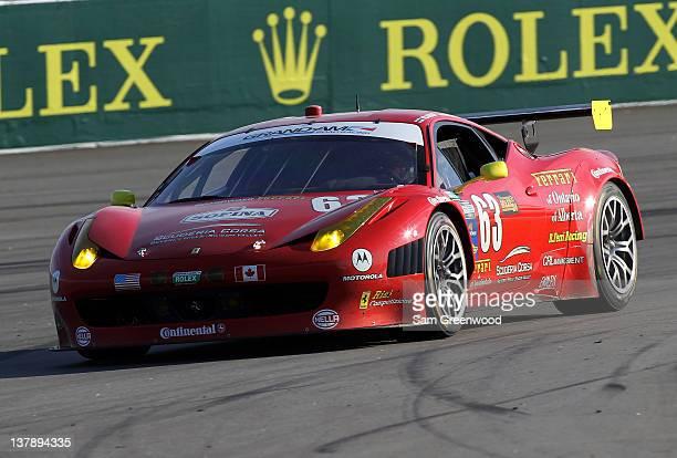 The Risi Competizione with American Candian Ferrari 458 driven by Toni Vilander Olivier Beretta Andrea Bertoni races during the Rolex 24 at Daytona...