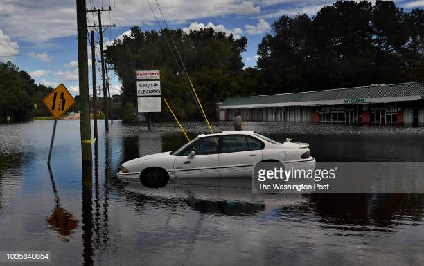 The rising Cape Fear River caused this strip mall to be flooded on Clinton Road in East Fayetteville, N.C. -The rainy remnants of Hurricane Florence...