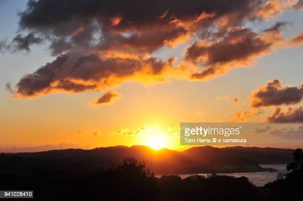 the rising sun on miura peninsula, and kamakura and zushi beach in kanagawa prefecture in japan in a new year day - zushi kanagawa stock photos and pictures
