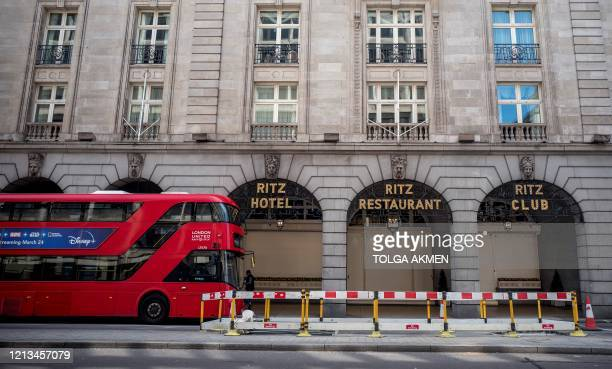 The Ritz hotel currently closed down due to the COVID19 pandemic is pictured in central London on May 18 2020 Luxury London hotel The Ritz currently...