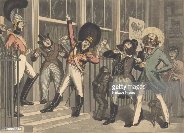 "The Rival Whiskers, circa 1824. [""They look not like the Inhabitants o' the Earth and yet are on't""]. Artist George Hunt, Theodore Lane."