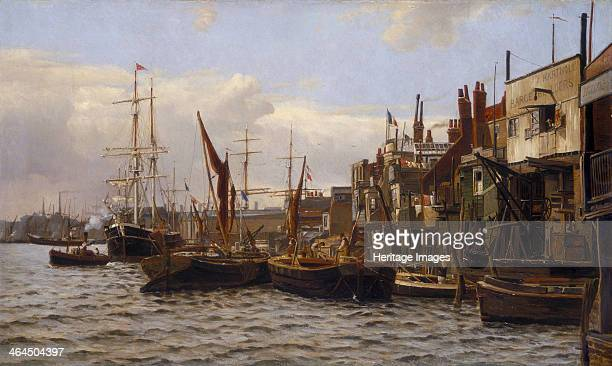'The River at Limehouse' c1890 Boats on London's River Thames viewed from Duke Shore and showing the premises of George and William Lamb mastmakers...