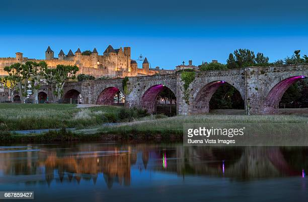 The river Aude in the city of Carcassonne