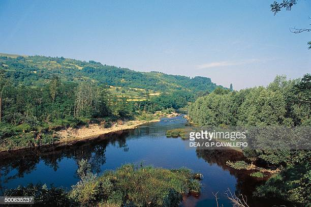 The river Bormida at Bistagno Piedmont Italy