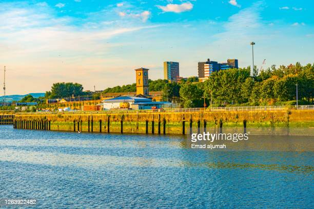 the river clyde framed with green trees and stately buildings, glasgow, scotland (uk) - glasgow green stock pictures, royalty-free photos & images