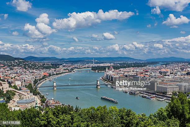 the river danube, on the left, the town of buda and, on the right, the town of pest from gellert hill - budapest stock pictures, royalty-free photos & images