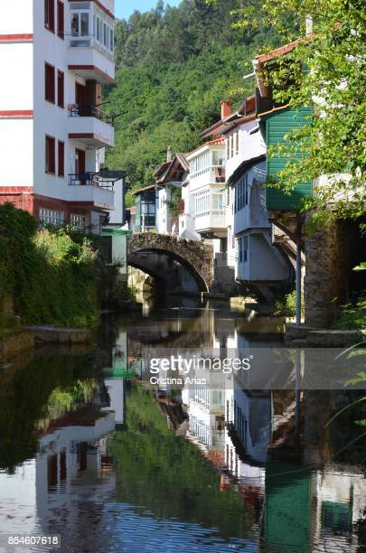 The river Ea passing through the town of Ea on 18 June 2017 Ea Vizcaya Basque Country Spain