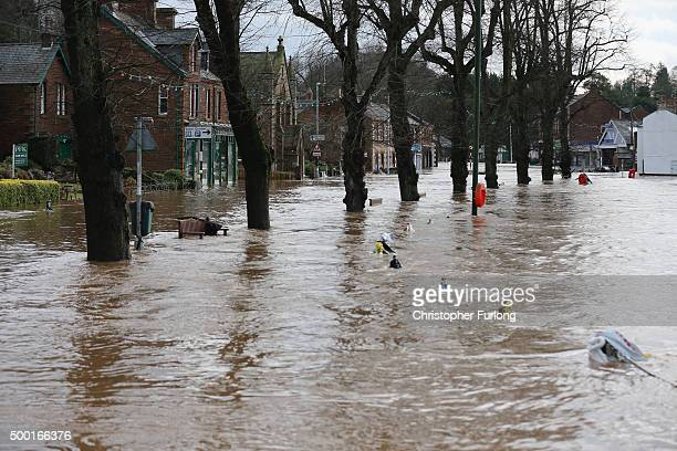 The River Eden bursts it's banks through the market town of Appleby as Storm Desmond causes flooding on December 6 2015 in Appleby England Storm...