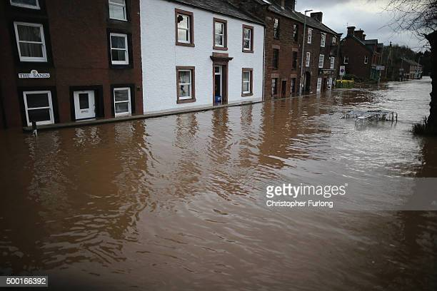 The River Eden bursts it's banks through the market town of Appleby as Storm Desmond causes flooding on December 6, 2015 in Appleby, England. Storm...