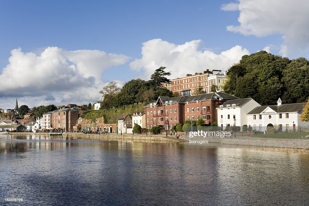 The river Exe and Exeter quayside in Devon : Stock Photo