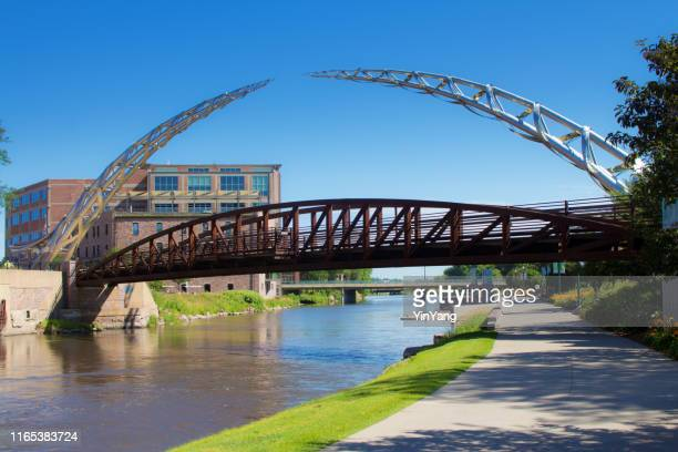 the river front walking and bike trail in downtown sioux falls, south dakota, usa - south dakota stock pictures, royalty-free photos & images