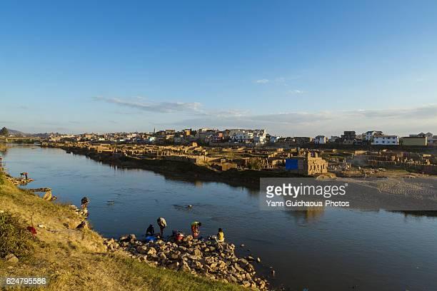 the river ikopa, brick factories, antananarivo, madagascar. - antananarivo stock pictures, royalty-free photos & images
