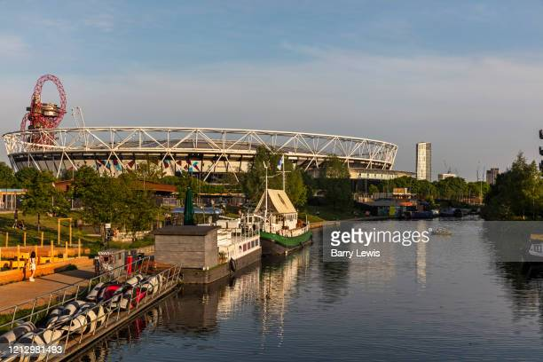 The River Lea and Queen Elizabeth Olympic Park which houses hip restaurants and startups during the coronavirus pandemic on the 7th May 2020 in...
