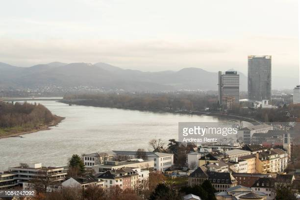 The river Rhine with Bonn's landmark DHL and Post tower and the UN tower is pictured from the City Skyliner on December 18 2018 in Bonn Germany The...