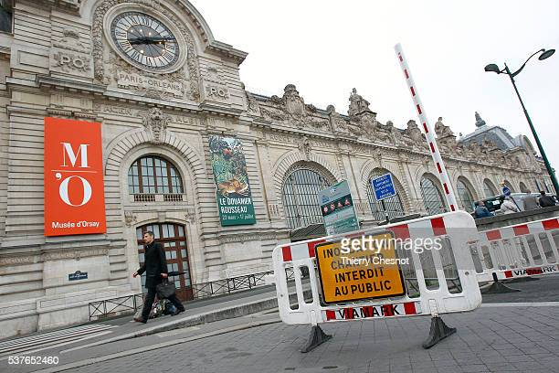 The river Seine banks in front of the Orsay museum have been blocked because of floods on June 2 2016 in Paris France The Orsay museum has been...