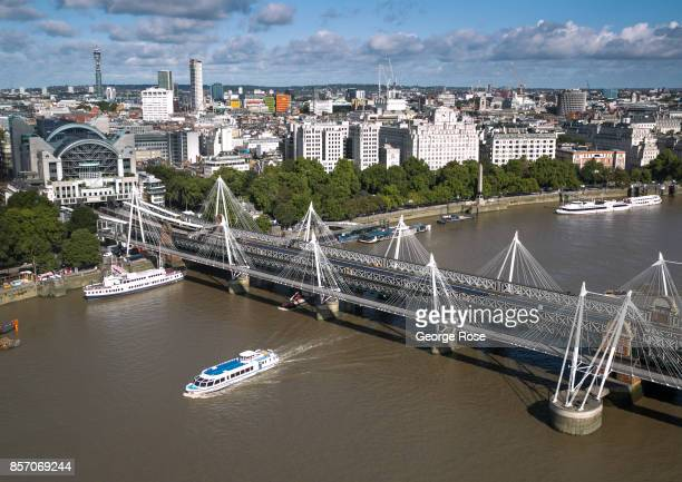 The River Thames Charing Cross Station and Jubilee Bridge is viewed from the London Eye on September 13 in London England Great Britain's move toward...
